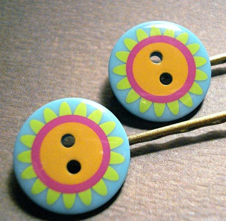 Floral Button Bobby Pins