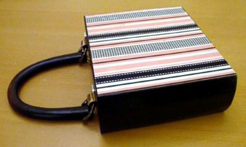 Pink and Black Striped Cigar Box Purse