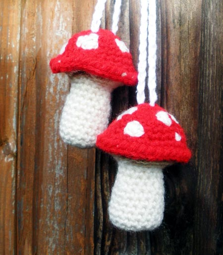 Patchouli Scented Crochet Toadstools Hanging