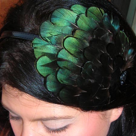 Emerald Green Feather Headband