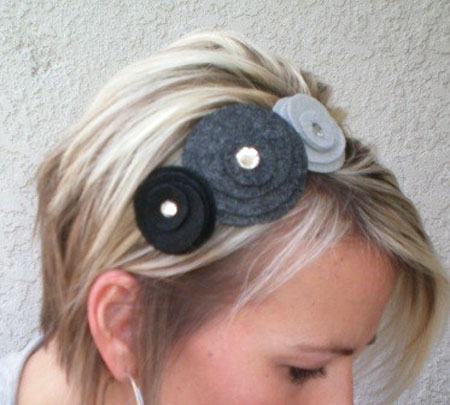 Black And Grey Felt Flowers Headband