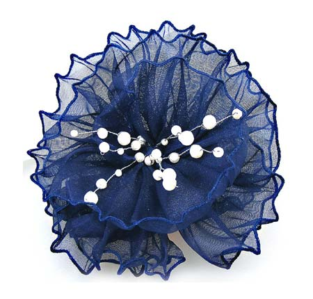 Blue Ribbon Flower Hair Comb