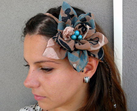 Viscose Fabric With Turquoise Beads Flower Hair Band