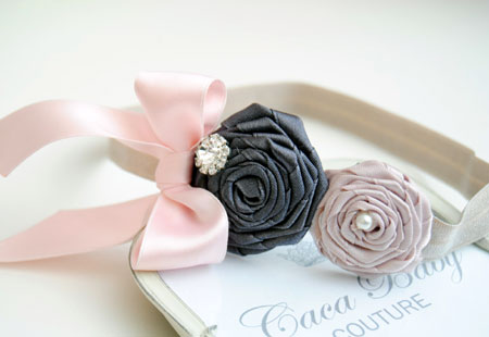 Flowers and Bow Baby Hairband
