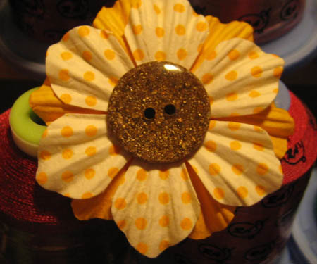 Paper Flower Button Brooch