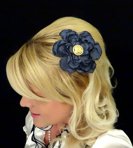 Blue Satin Flower Hair Clip