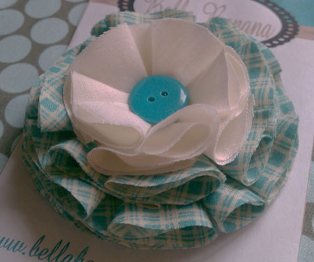 Plaid Fabric Flower Hair Clip
