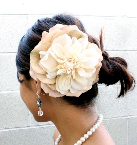 White Dahlia Hair Brooch