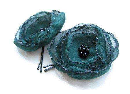 Floral Chiffon Hair Pins