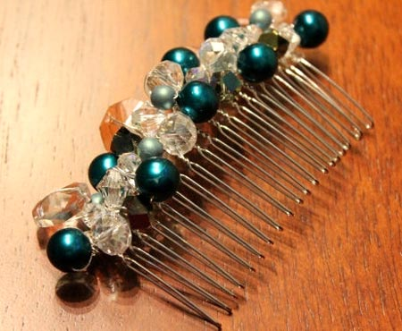 Vintage Beads And Swarovski Crystals Hair Comb