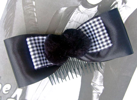 Black Satin Bow Hair Comb