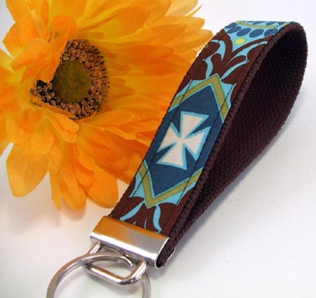 Blue and Brown Key Fob Wristlet