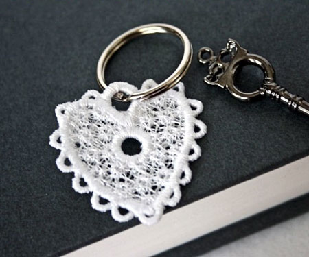 Embroidery Lace Heart Key Fob