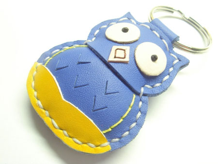 Blue Leather Owl Key Fob