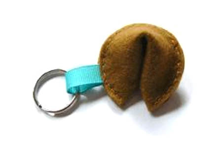 Felted Fortune Cookie Key Fob