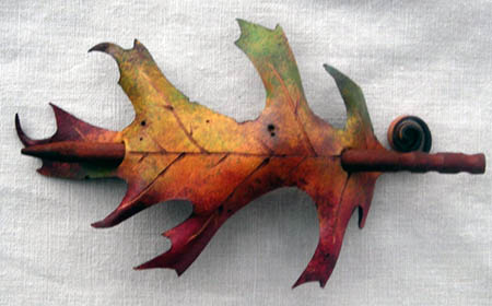Leather Pin Oak Leaf Barrette