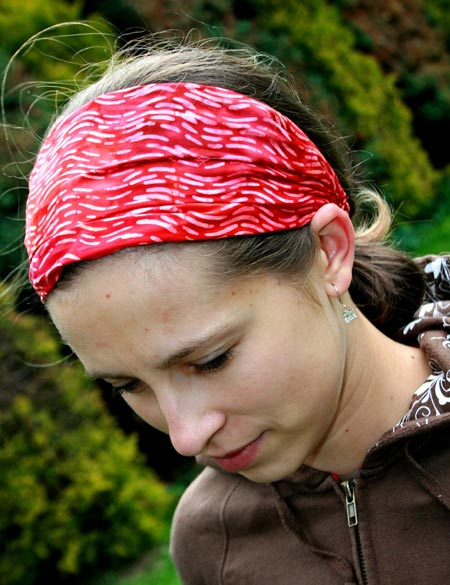 Red And White Cotton Stretchy Headband