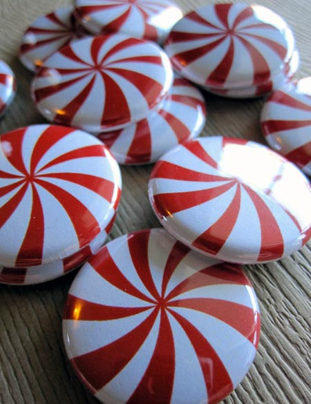 Peppermint Pinback Buttons