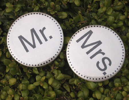 Mr & Mrs Pinback Button Set