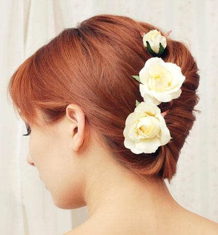 Yellow Rose Chignon Clips