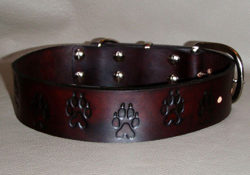 Leather Dog Collar With Paw Prints