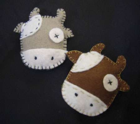 Needlework Felt Stitched Cows