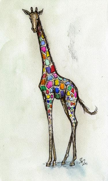 Colorful Giraffe Giclee Print