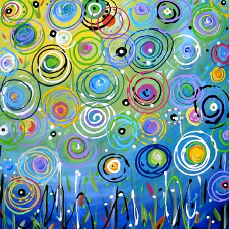 Original Abstract Circles Floral Painting