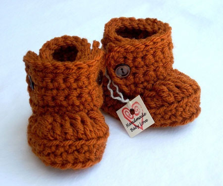Burnt Orange Baby Booties