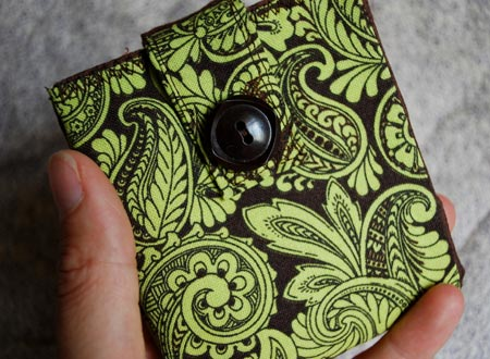 Lime and Chocolate Paisley Wallet