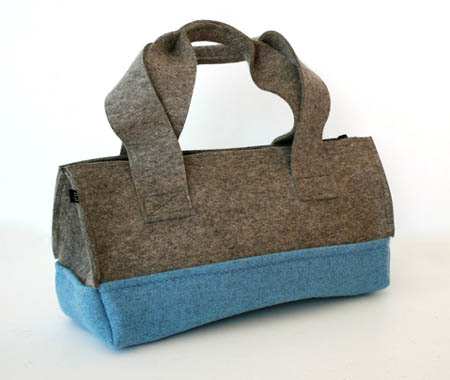 Blue Felt Duffel Bag