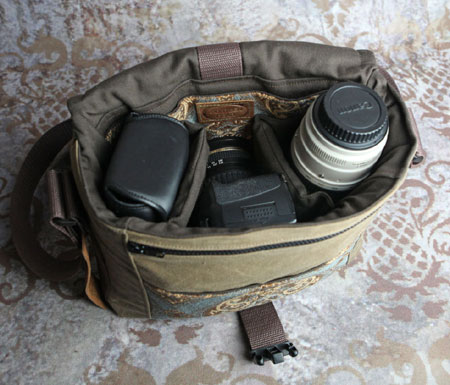 Tapestry & Leather DSLR Camera Bag