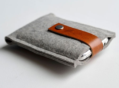 Felt and Leather Iphone Case