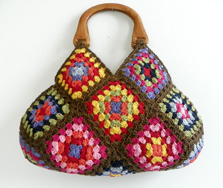 Multi-Color Crochet Granny Square Afghan Bag