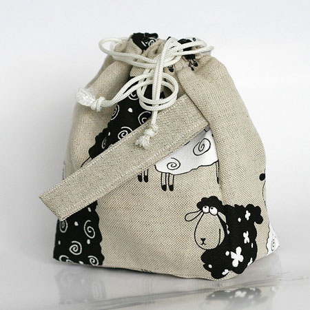 Sheep Print Draw String Bag