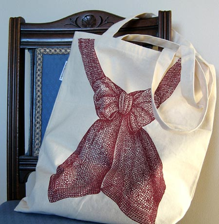 Screen-Printed Bow Bag