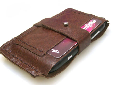 Handstitched Leather iPhone Case and Card Holder