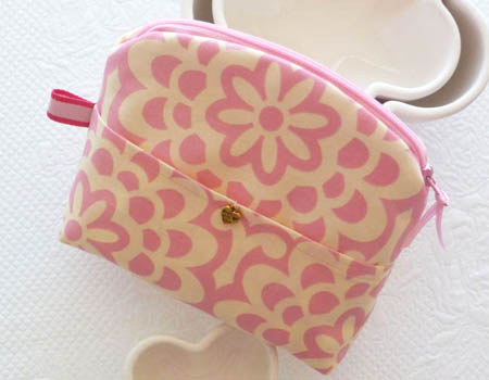 Damask Rose Print Make-Up Bag