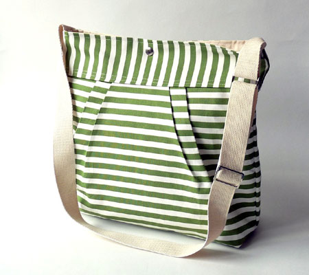 Green Striped Stockholm Messenger Bag