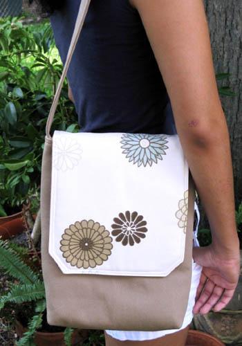 Floral Twill Messenger Bag
