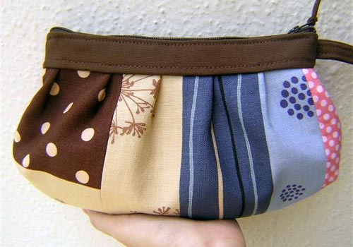 Blue and Brown Patchwork Wristlet