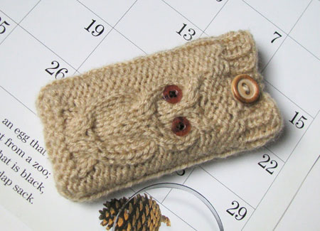Hand Knit Beige Owl Phone Case With Button Closure
