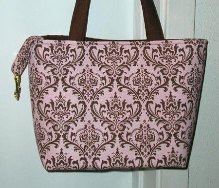 Pink and Brown Damask Print Tote