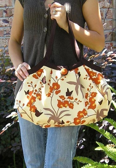 Pleated Orchid and Butterflies Hand Bag