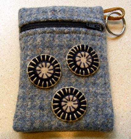Cotton-Lined Felted Penny Rug Purse