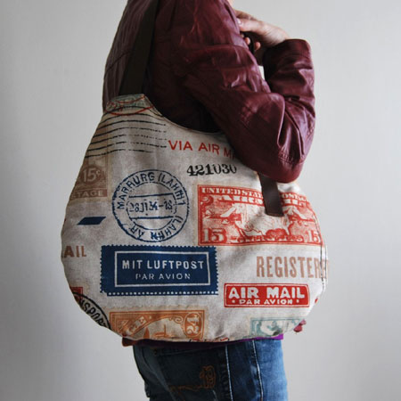 Postage Stamp Pattern Shoulder Bag