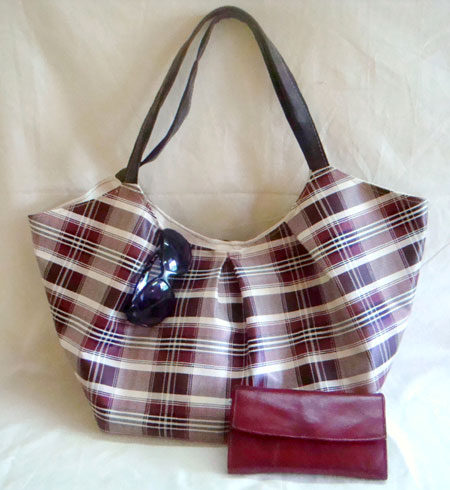 White and Brown Plaid Vinyl Shoulder Bag