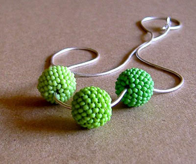 Green Beadwoven Beads Necklace