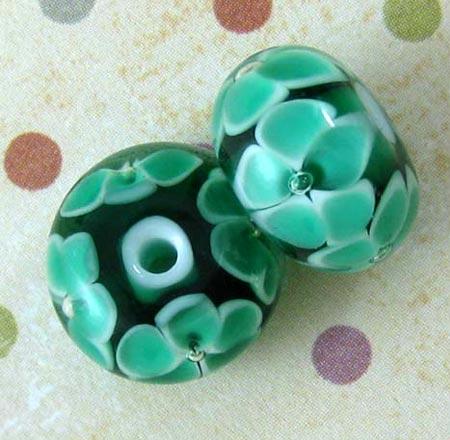 Floral Teal Lampwork Beads