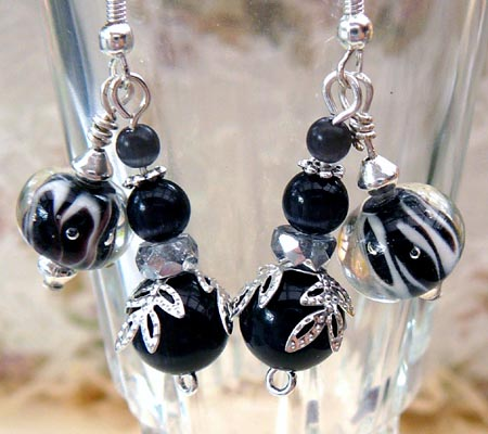 Black and Silver Lampwork Bead Earrings
